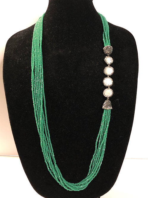 Multi strand green crystal neckace  Freshwater Cultured pearls