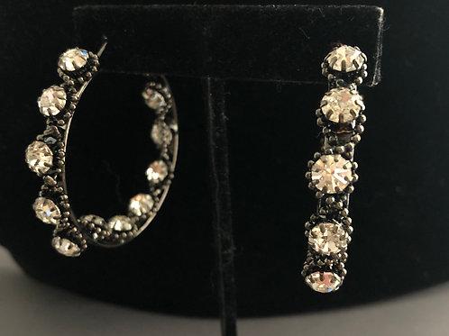 Stainless steel multi colored tear drop Swarovski crystal earring