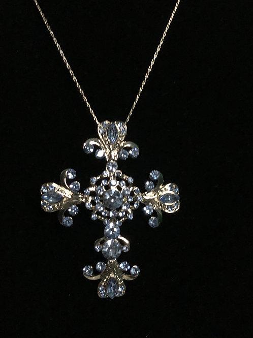 Large SKY BLUEAustrian crystal Cross Necklace