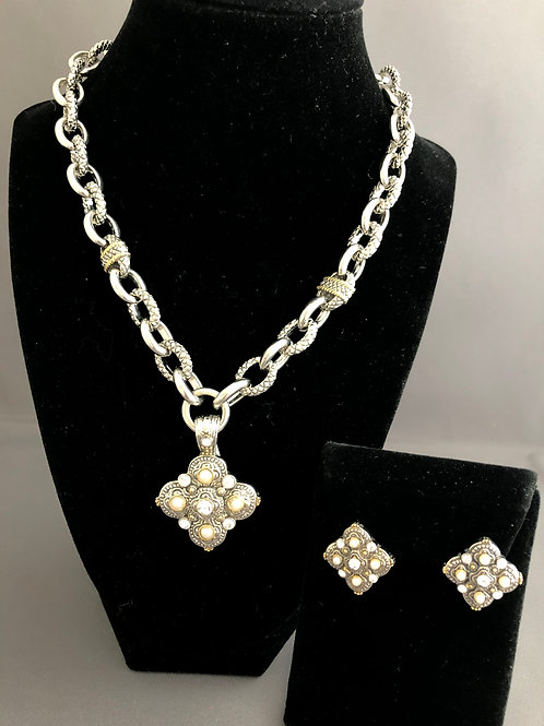 Designer look chain with detachable two tone enhancer/earrings
