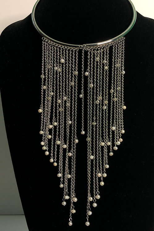 Silver collar with many strands of silver and white FWP