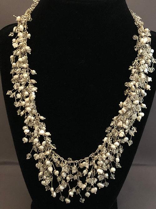 Silver snowflake design with white FWP Swarovski necklace