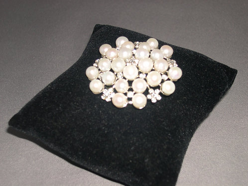 Flower encased crystals with WHITE freshwater pearls brooch