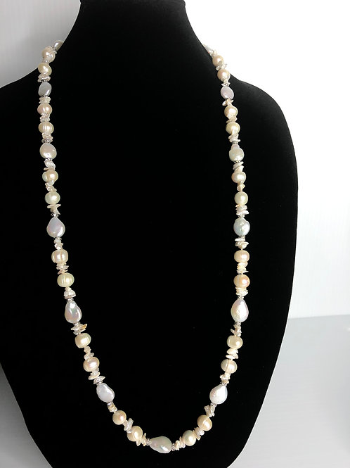 Long white Freshwater Cultured pearl necklace