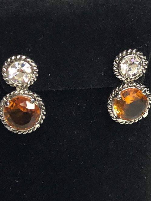 Designer Inspired Tear drop shaped Champagne earrings