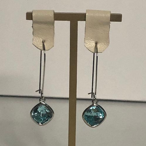 Aquamarine Swarovksi crystal drop earring