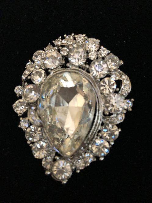 Pear shaped silver Austrian crystal brooch