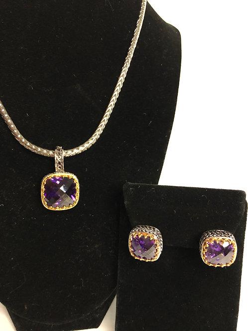 Designer  Purple  pendant on Magnet chain with earrings