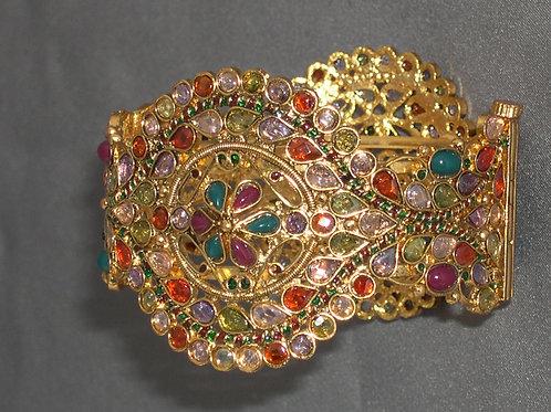 Indian SWIRL design cuff with genuine GEMSTONES