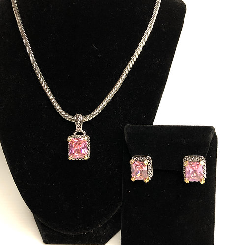 Designer  Pink  pendant on Magnet chain with earrings