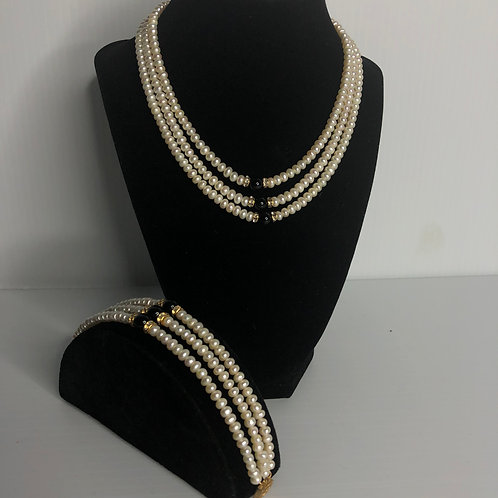 3 strands of white FWP with black onyx stones and crystal