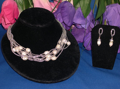 Designer look 8 strand set with white FWP necklace and earrings
