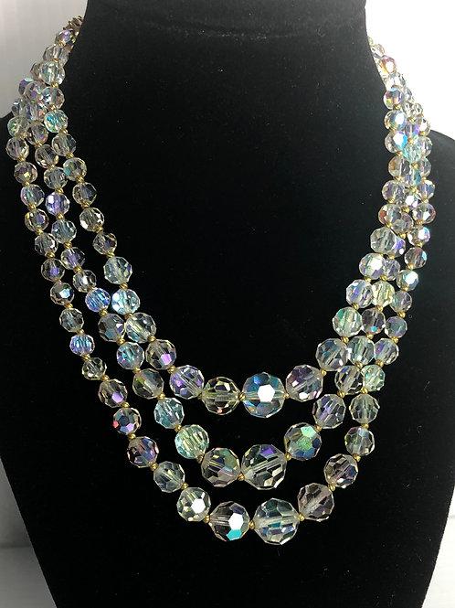 4 strands of Aurora Borealis crystals necklace