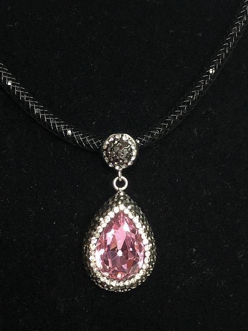 Tear drop Pink on SILVER crystal Pendant