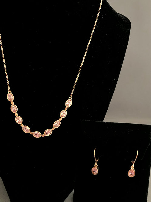 Rose gold necklace with pink cubic zircon stones & earrings