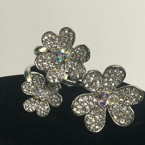 Silver tri-flower hinged design bracelet in Aurora Borealis crystals