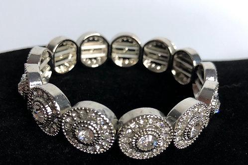 Silver circle elastic bracelet