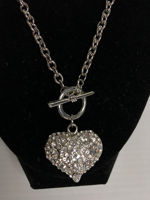 Silver puffed Austrian crystal puffed heart with toggle in front