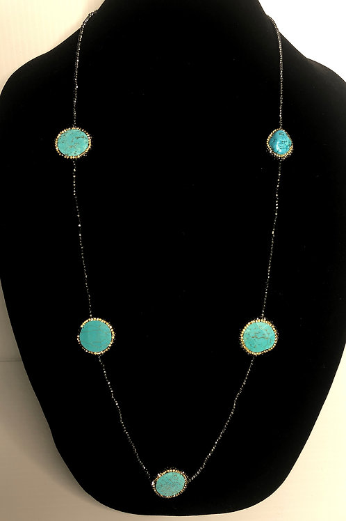 Long necklace with Turquoise stones with Gold Swarovski crystals