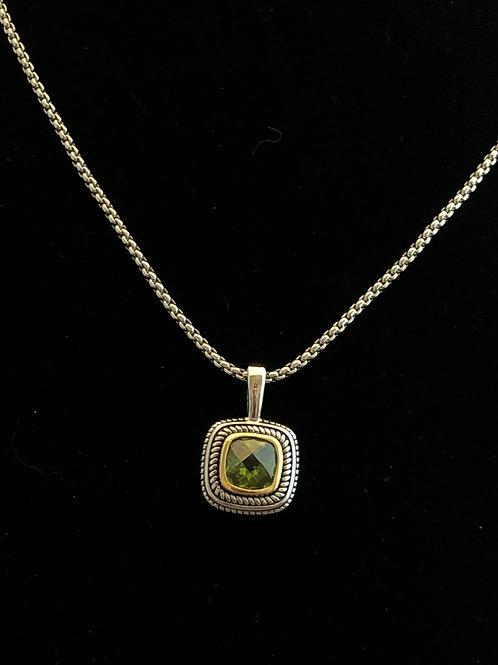 Designer look square GREEN pendant