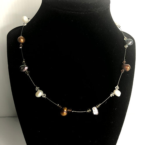 Wire necklace with white, brown and black pearl necklace