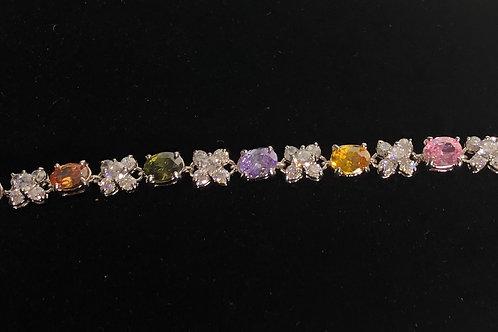 Multi color Gemstone and cubic zircon sterling silver 925 bracelet