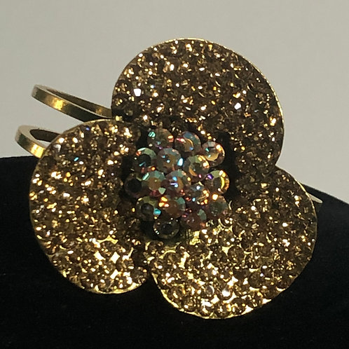 GOLD flower hinged design in Aurora Borealis bracelet