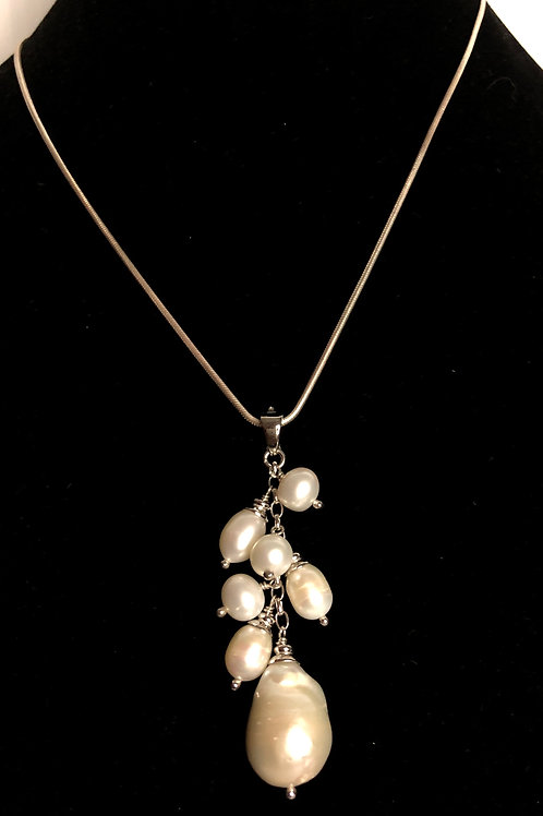 Sterling silver necklace with detachable grape like white FWP