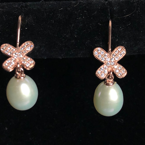 Rose gold over Sterling Silver Freshwater Pearl Earring