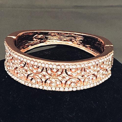 Designer look Rose Gold hinged bracelet with Austrian crystals