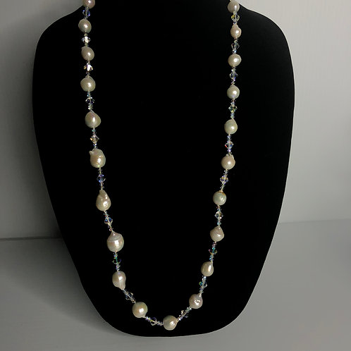 Long white FWP necklace with Aurora Borealis stone notted