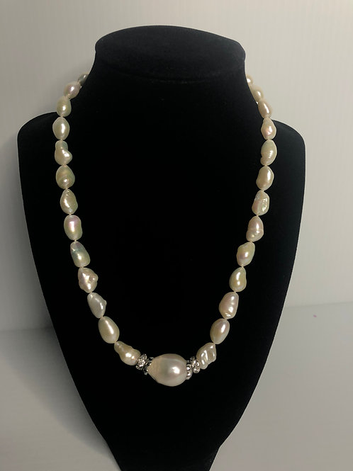White FWP necklace with sterling silver decorative beads