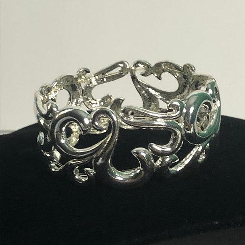 Silver elastic scrolled bracelet