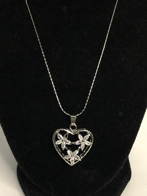 Silver heart with Austrian crystal pendant