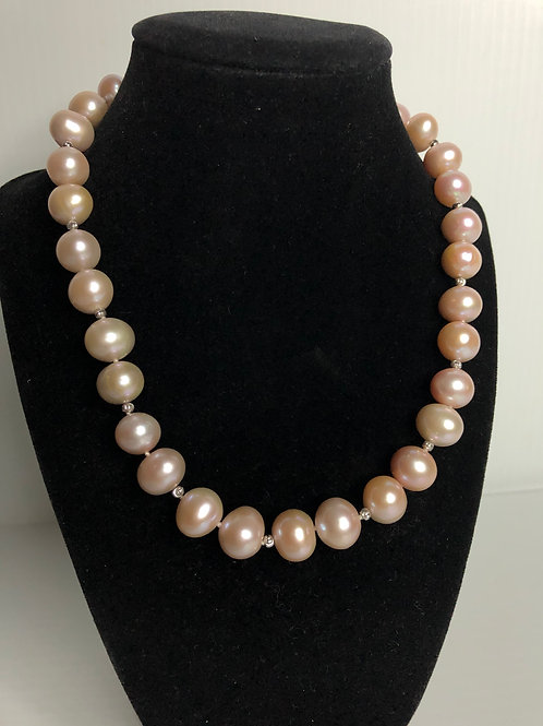 Large mm pink Freshwater Cultured pearl necklace