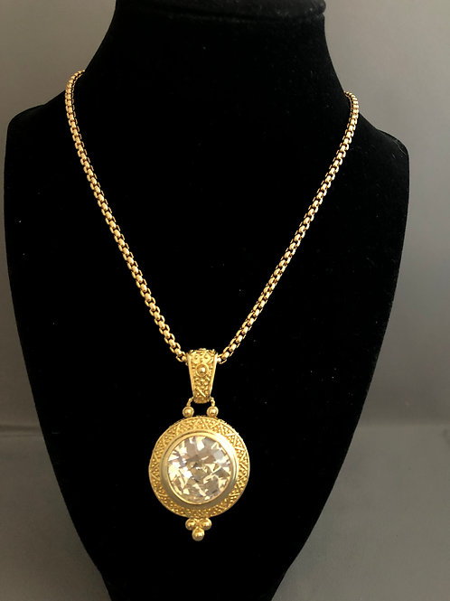 Large gold drop Austrian crystal necklace on adjustable clasp