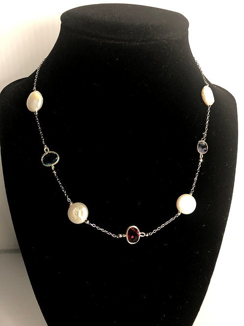 Designer look necklace in silver with FWP and Czech crystals