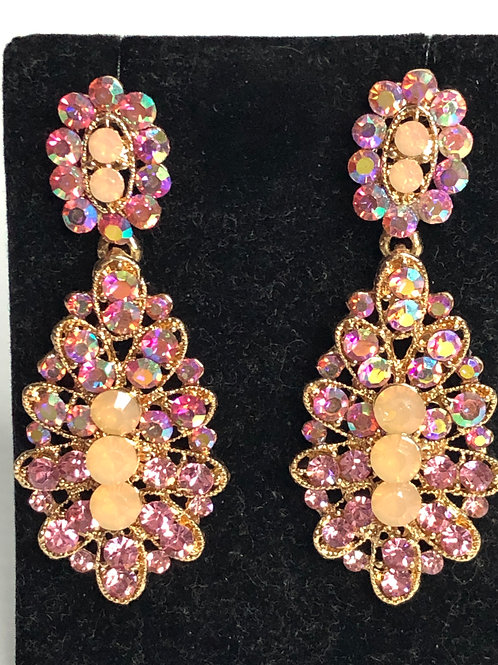 Pink on gold chandalier crystal earring