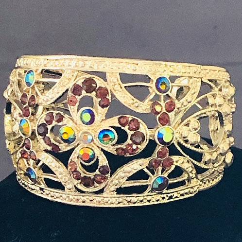 Gold cuff bracelet in champagne Austrian crystal stones
