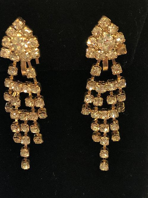 Gold fringe Austrian crystal clip on earring