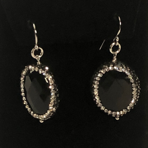 Sterling silver wire earrings with black round onyx drop