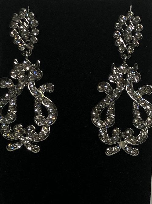 Silver ornate crystal pierced earring