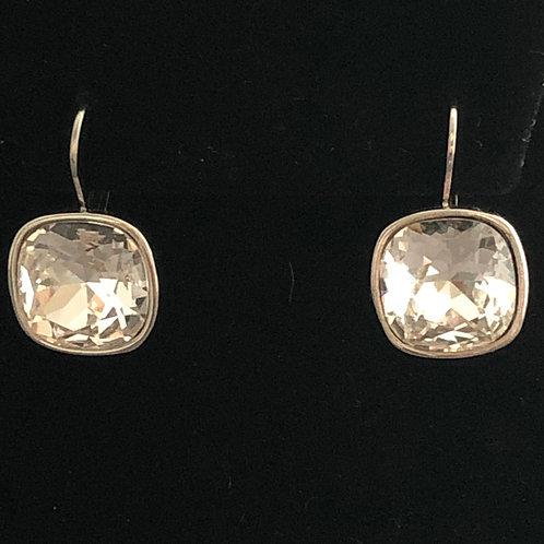 Swarovski crystal lever back earrings -Clear