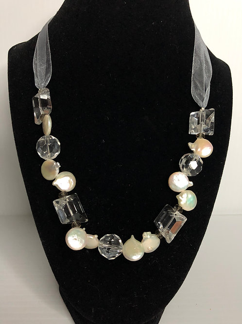 Gray Ribbon  necklace in WHITE coin pearls and Lucite crystals