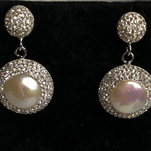 Round white FWP Earrings surrounded by Swarovski crystals