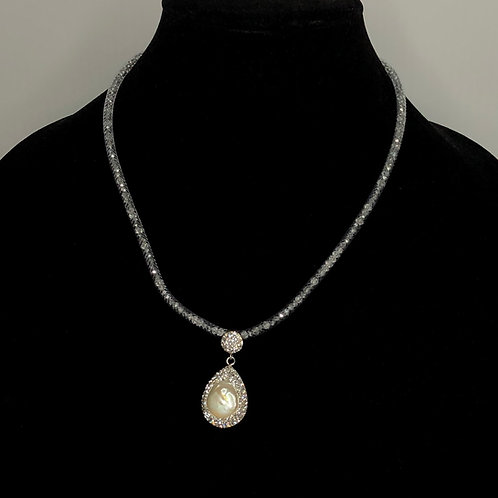 Gray mesh necklace with tear drop shaped white FWP
