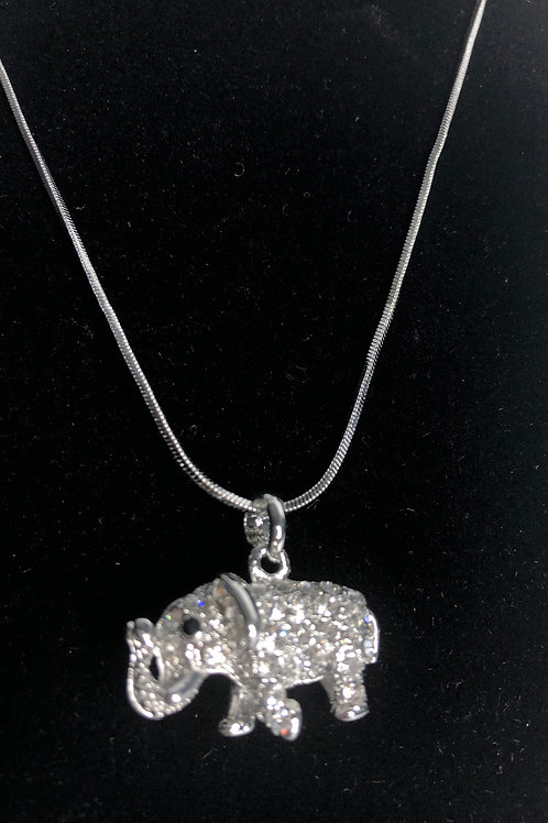 SILVER elephant crystal pendant
