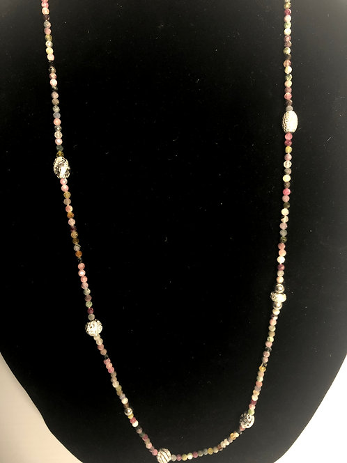 Multi colored wood beaded necklace with S/S silver beads