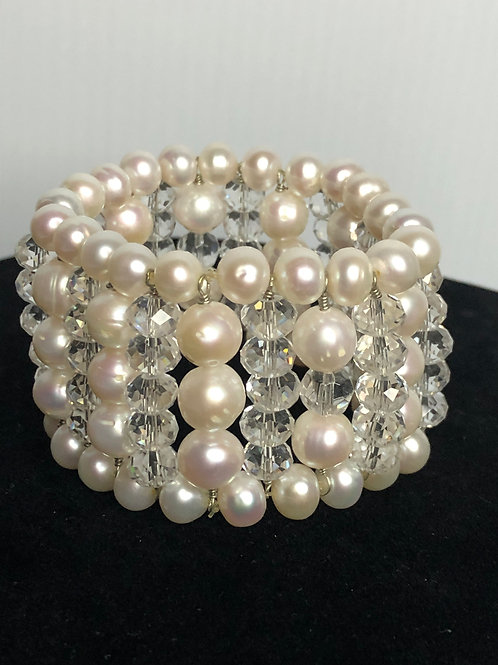 Multi strand white FWP pearl bracelet with clear crystals