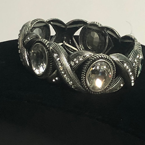 Muted silver with large clear Austrian crystals elastic bracelet